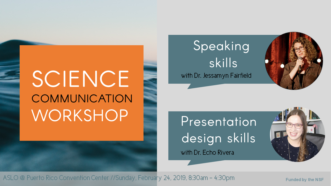 A graphic I made to promote our #scicomm workshop at ASLO 2019!