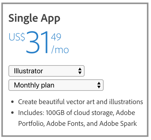 Price for Adobe Illustrator as of August 2019