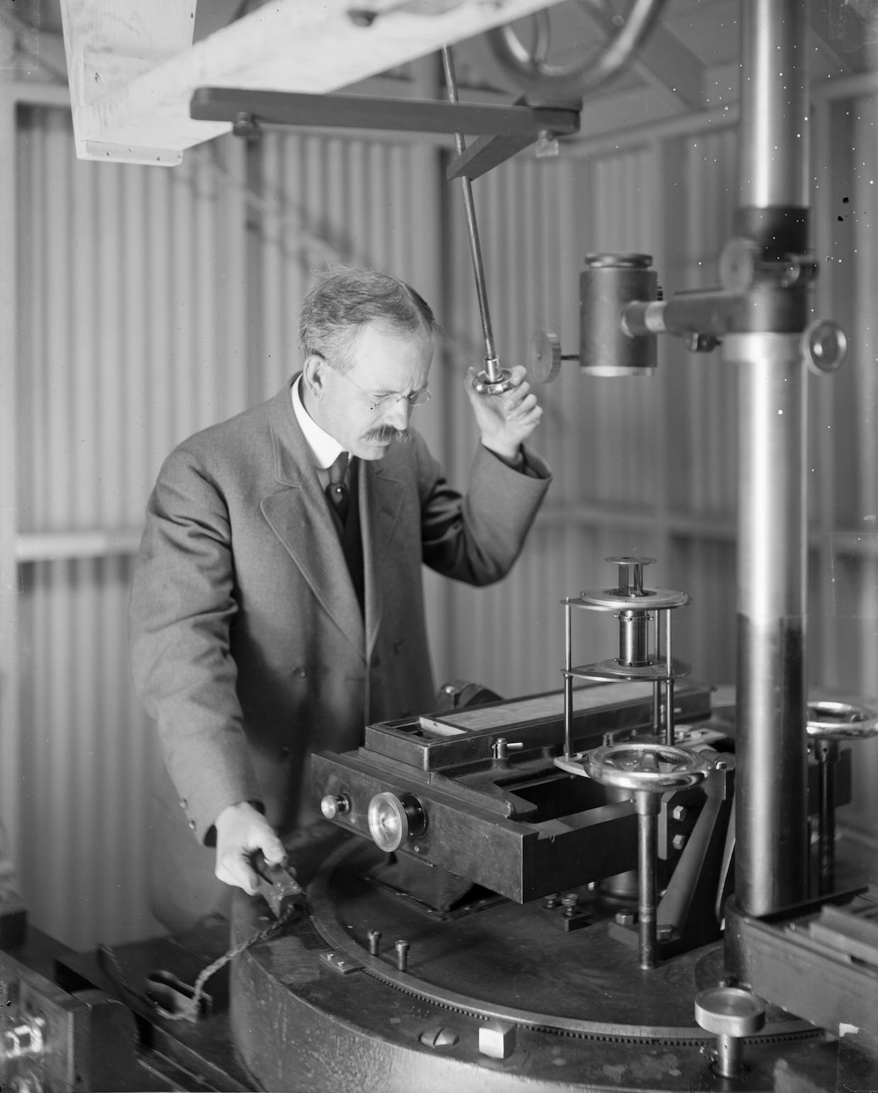 George Ellery Hale at 60 foot solar telescope