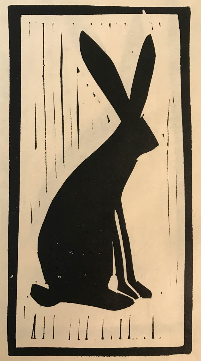 just a bunny. This was a print from a block made for demo at the WaterWorks Museum by Calli Nissen.