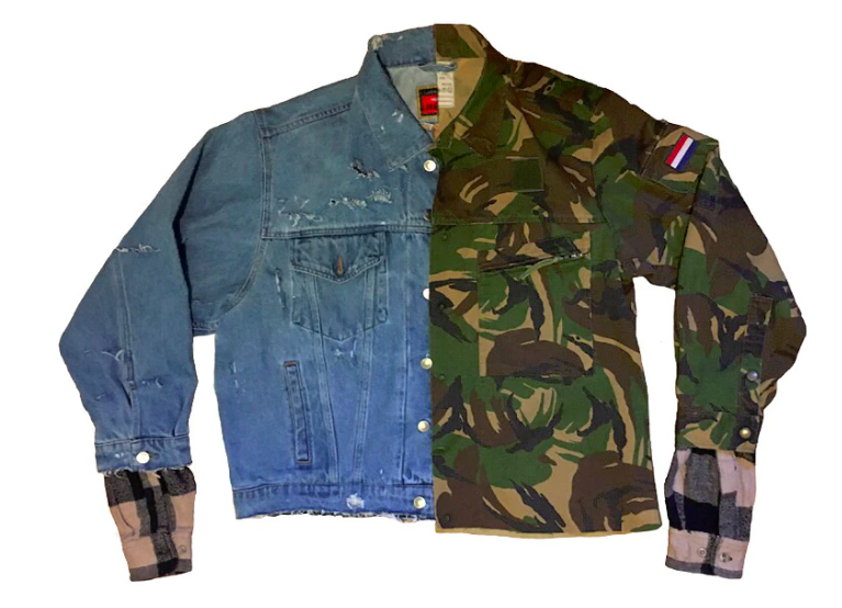 "Many of your pieces are made up of different materials-- the half denim/half camo    ""Dopamine jacket""    for instance. What was the process behind designing that?   Purely cut and sew. I find multiple pieces that I personally enjoy, or are specific to a vibe or era I am looking to incorporate. I'll lay everything out and look at it as a whole and then slowly start detaching and attaching piece by piece.       How has Boston shaped your work?   I met a lot of my best friends out here, some of which happened to be connected into the fashion scene and I kind of just utilized my plugs. Sam of Straws USA is my best friend and he helped throw me the assist of getting stocked in Bodega as well and meeting a ton of people who have helped support my brand on a higher level.       Do you think Boston has an art scene? How can it be improved (or if there isn't one, created)?   Yeah, for sure. There are multiple though-- you really just have to decide which one you like being entertained by. There's, like, the South End high art shit-- all the ritzy galleries and what not. Then you have the younger artists and musicians on the come up, throwing warehouse and house parties, unofficial events, without security and all the unnecessary, stuffy, high art bullshit.   I think Boston just needs more unity amongst those who are shining in their said art form. People can be very very hard to work with-- especially if that ego starts to inflate."
