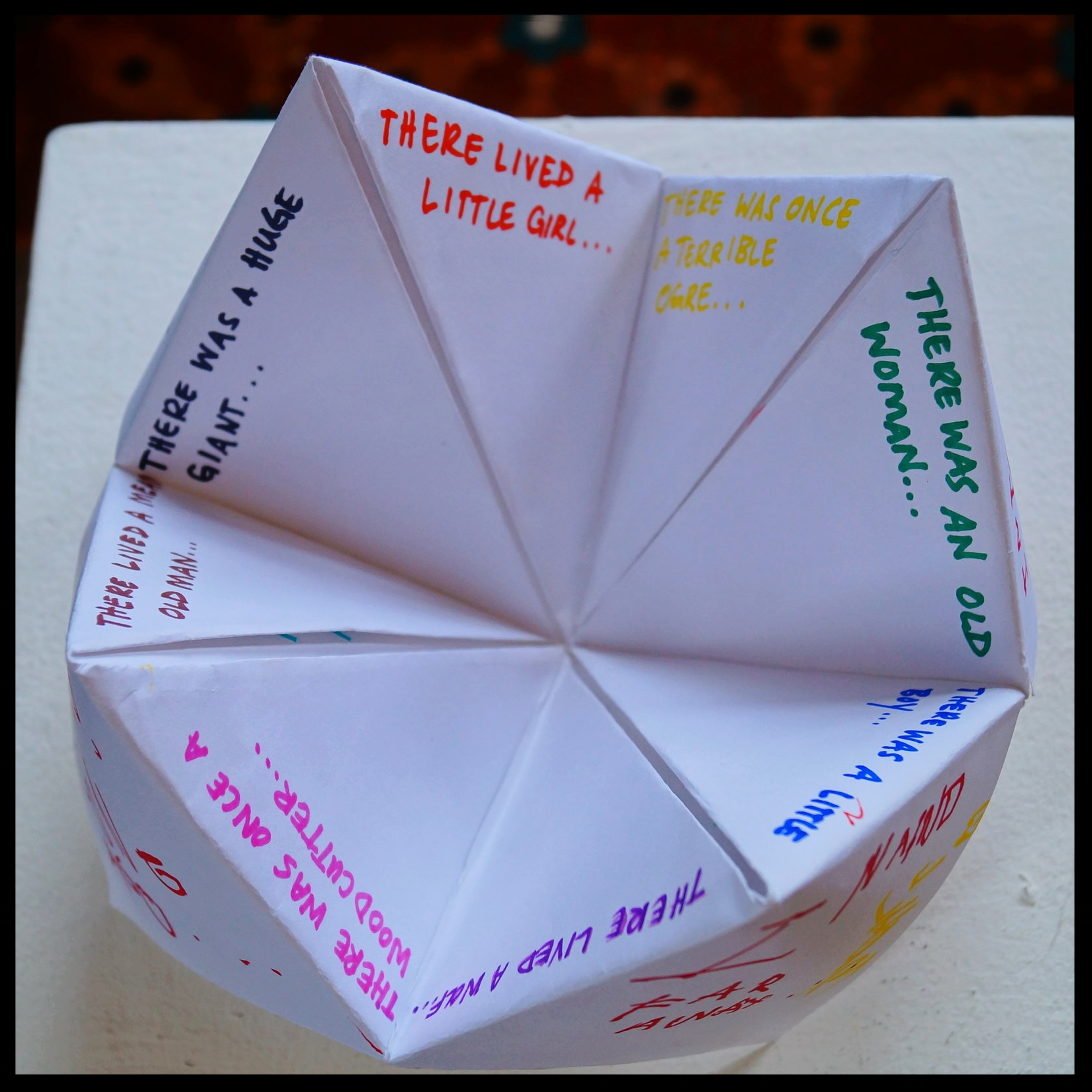 Middle triangles of the fortune teller: introduction of a main character (we forgot to number them, but you should mark yours)