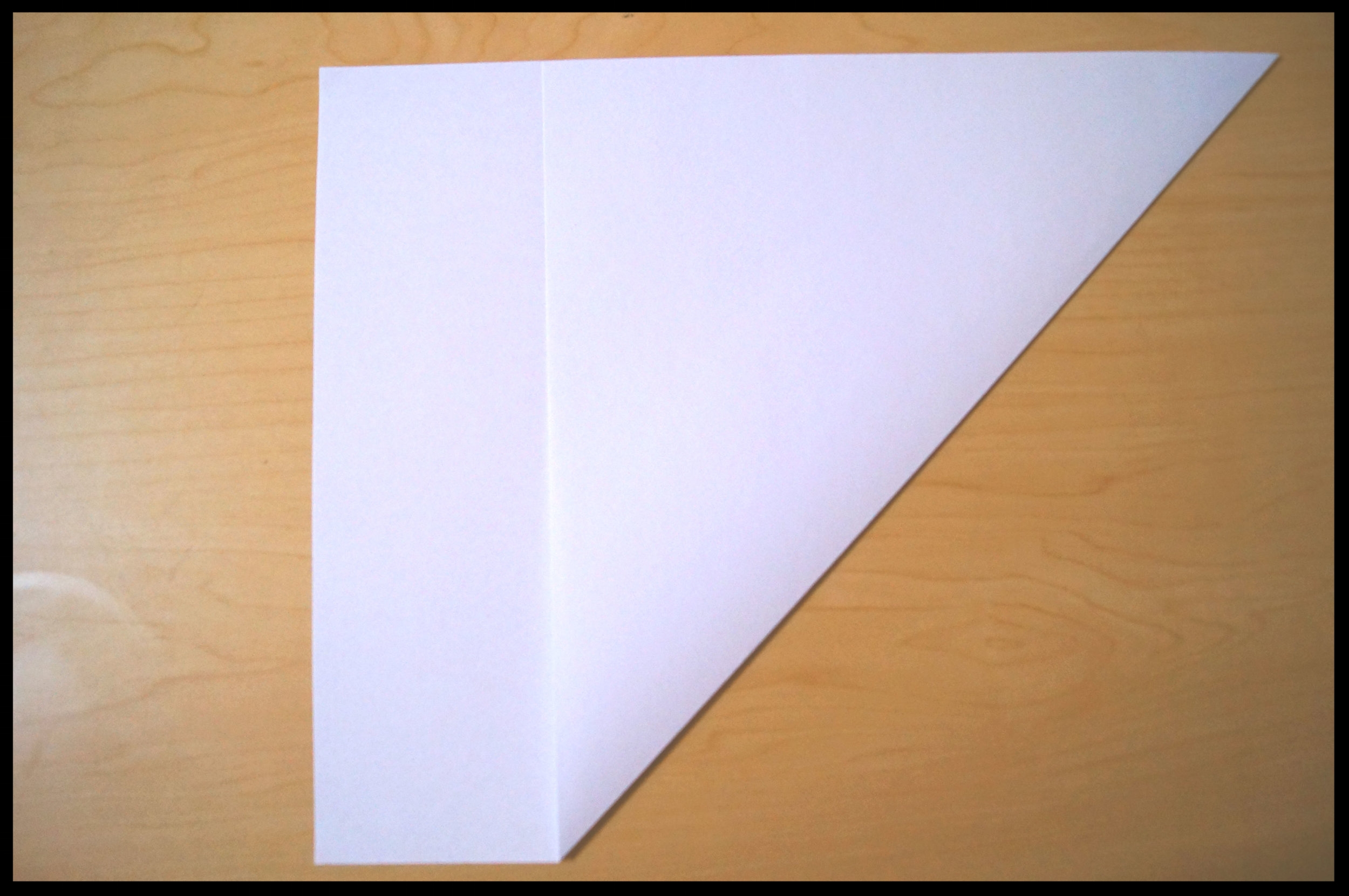 2.    Take the bottom right corner and fold it up diagonally to create a triangle. There will be a small strip of extra paper to the left of the triangle.