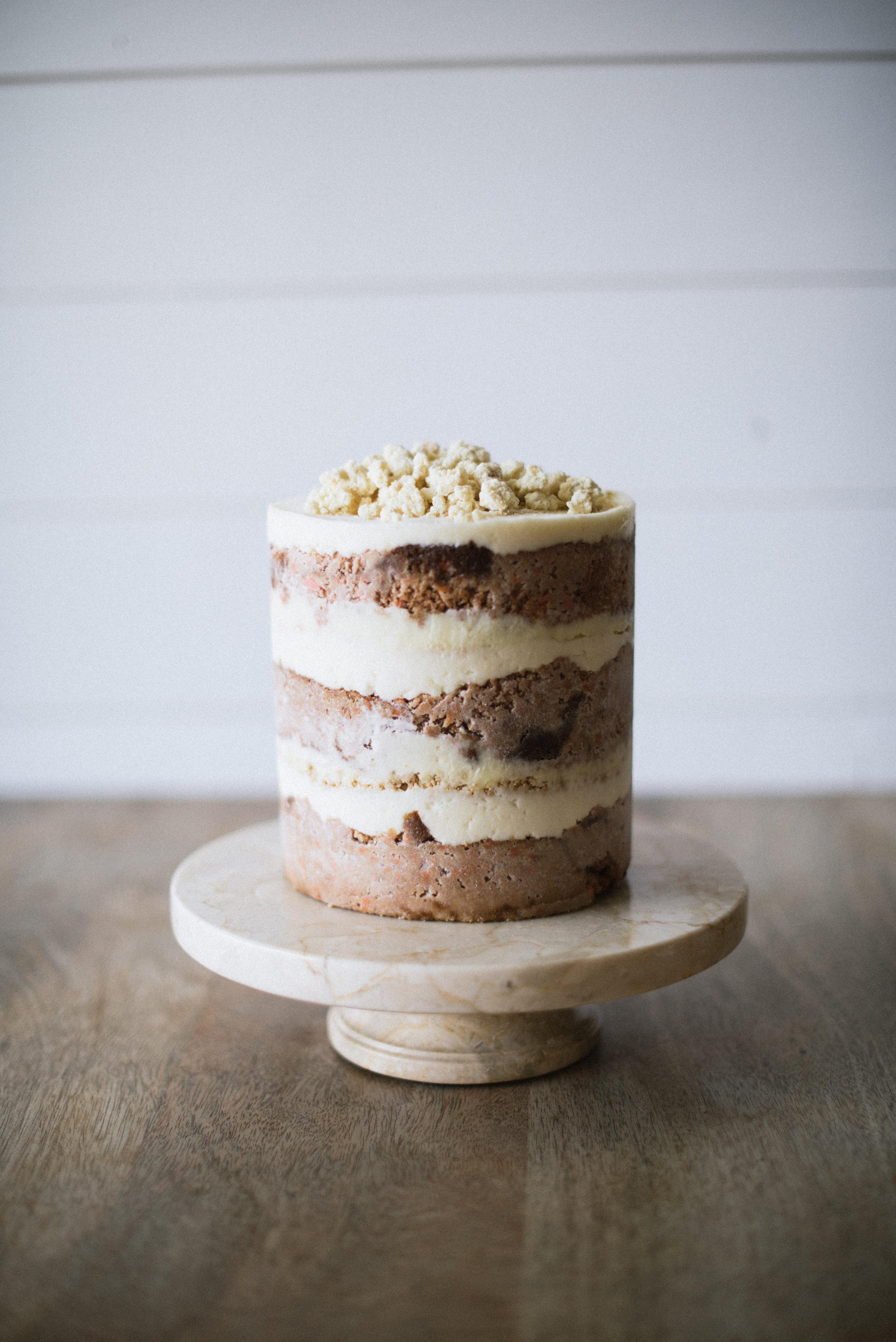 Carrot Layer Cake // carrot cake, cheesecake, maple buttercream, graham cracker crumb, and white chocolate milk crumb