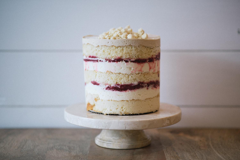 Raspberry Mascarpone Layer Cake// Vanilla Cake, House-made Raspberry Preserves, Mascarpone Buttercream, White Chocolate Milk Crumb, Coffee Buttercream