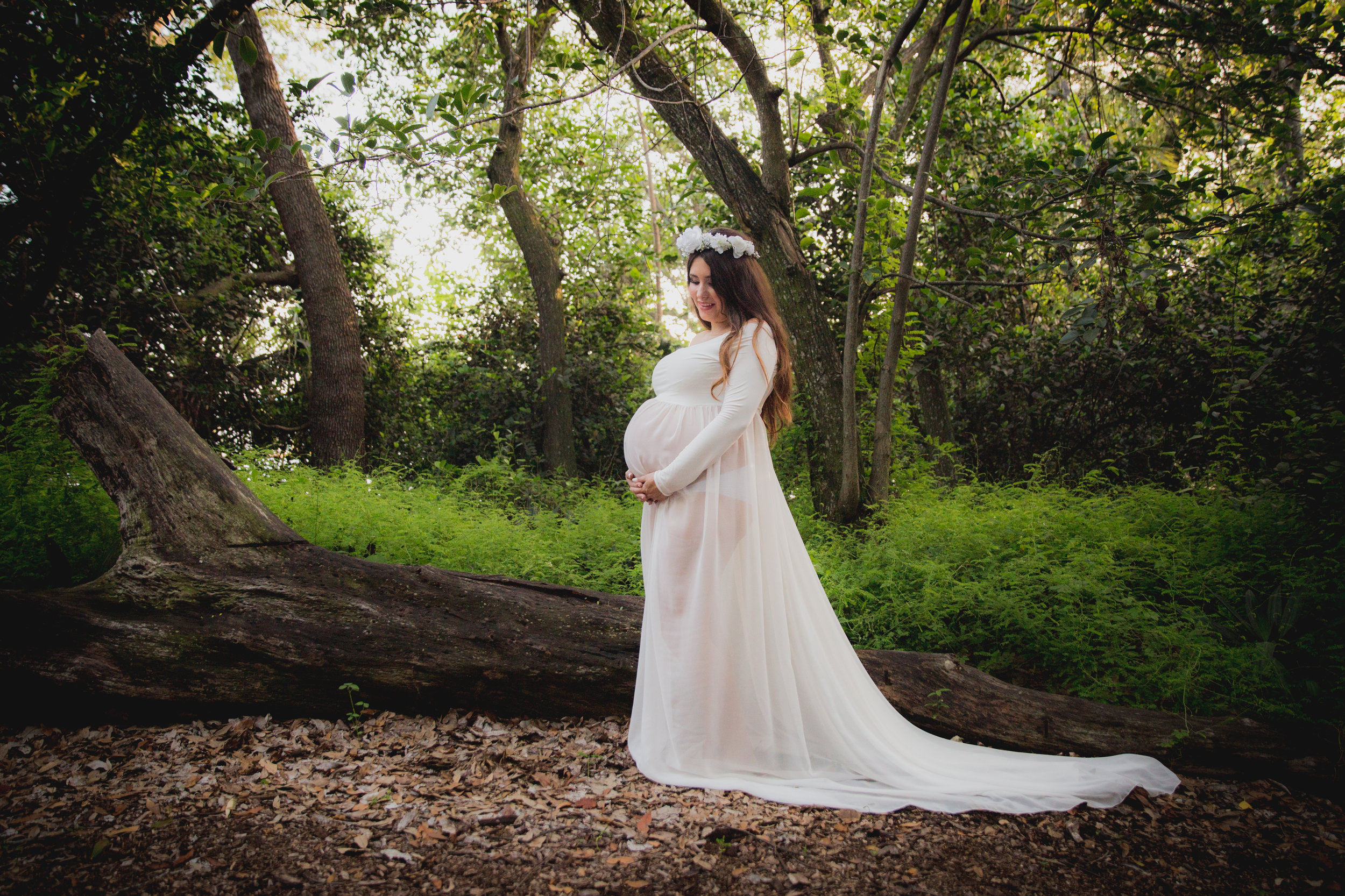 white maternity gown long sleeve