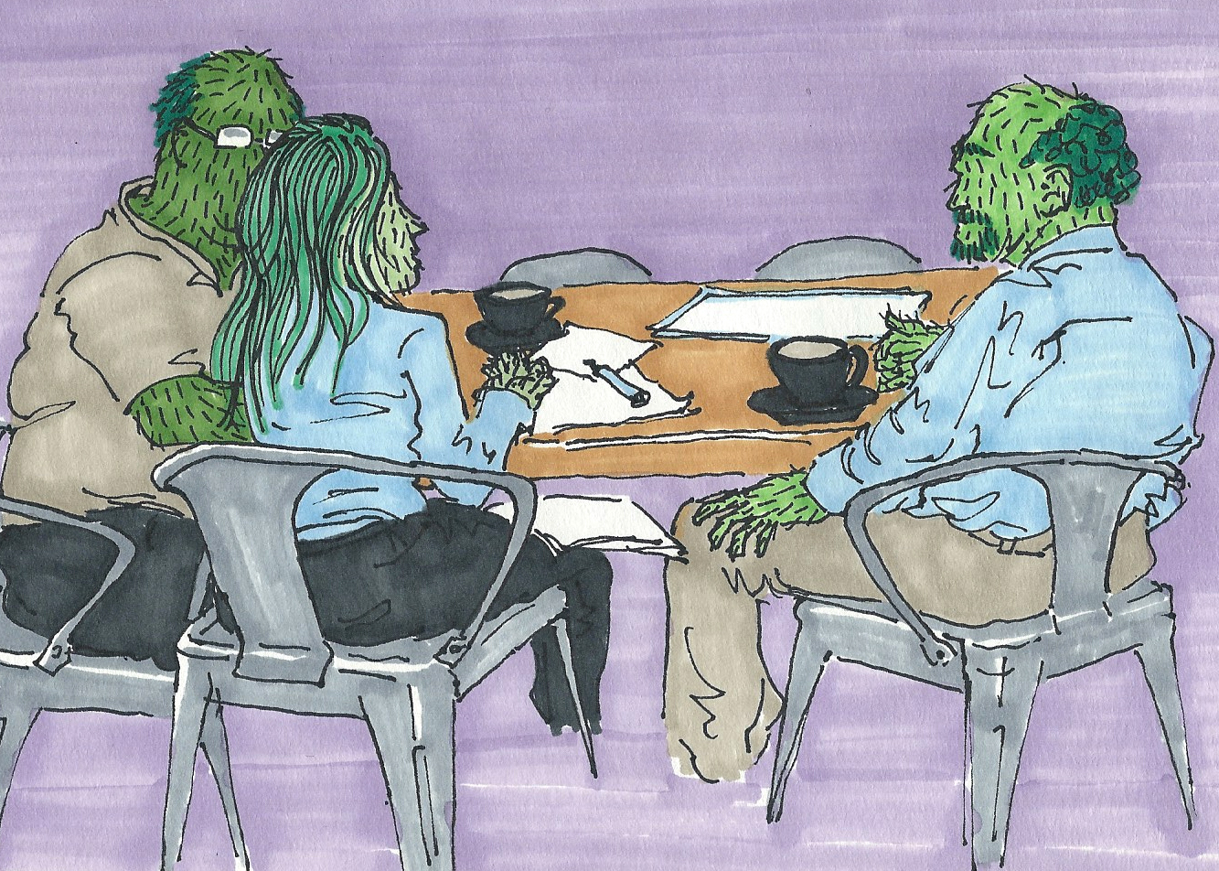 Cactus People in a Meeting