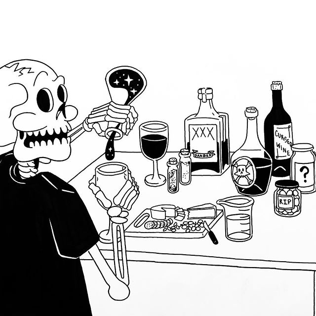 🤢 POISONOUS 🤢 The first of S. Kelly Tonne's #Inktober adventures, posted with less than 20 minutes to spare. ☠️ Here, S. Kelly Tonne has prepared a charcuterie plate and poured you a glass of blood red wine - how thoughtful! Swipe thru to see my initial sketch. ✏️ • • • #halloween #ink #inkdrawing #skeleton #skull #spooky #blackwork #penandink