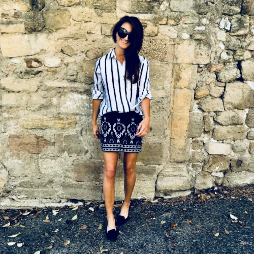 Blue/White striped top , Skirt: vintage find from  Buffalo Exchange
