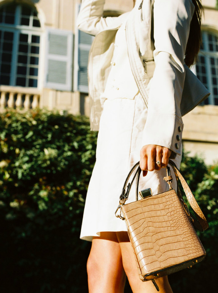 I've been CRAZY over this bag. It's the perfect size to fit JUST the essentials (yet there's still room from my massive sunglasses). The unique shape adds a fun vibe to a simple outfit, yet it's in a texture and tone that matches almost anything in my closet (i wear a lot of creams, blacks, whites, blush, & blues).