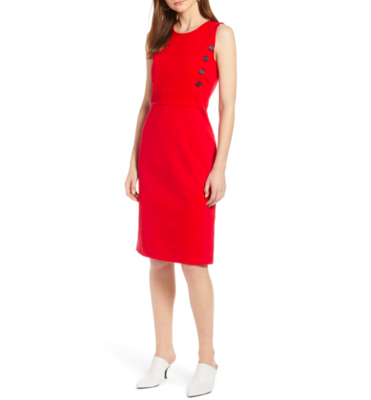 Halogen Sheath Dress :  This classic cut   is transitions   to every season. The summer with a sandal, the winter with tights and boots, or even dress it up with a blazer or go casual with a denim jacket. When can't you wear it?!!