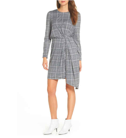This gorgeous and artful  Maggy London dress  highlights the feminine figure and elongates the legline with the edgy asymmetrical drape. Cute with boots and a jacket in the fall or a bright flat in the spring!