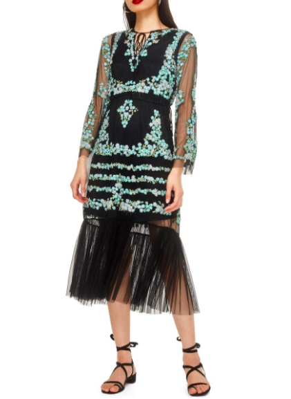 This  Topshop Flower Mesh Midi Dress is a work of art!