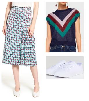 Halogen Pleated Midi Skirt ,   Mango Knit Top ,   ASOS Daisy Sneaker