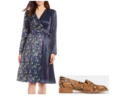 Halogen Print Satin Dress ,  ASOS Munch Loafer