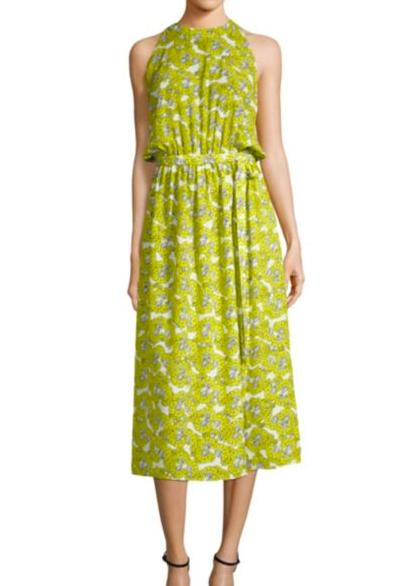 Robert Rodriquez Floral Dress A gorgeous chartreuse!
