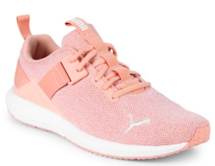This  blush Puma  adds the perfect pop! With neutral colored work out clothes, you can bring that little pop of color in with your shoe! Especially since shoes like this only last a year or so, you know you can always change up the color!