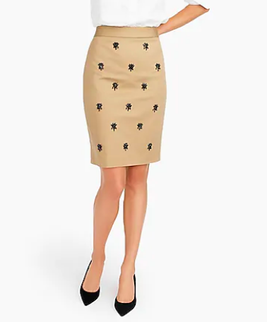 This  embellished J Crew Skirt  has the color and cut of timelessness with a pop of fun in the jewel detail.