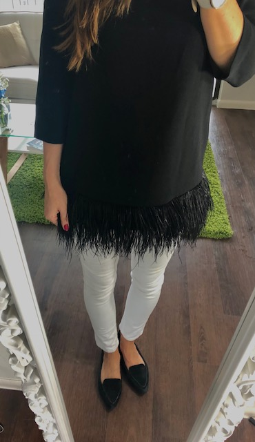 The Ostrich Feathers crank this classic boat neck top to the next level. Note that… when incorporating something more quirky… you keep it with a classic silhouette so that it's not mindlessly crazy!