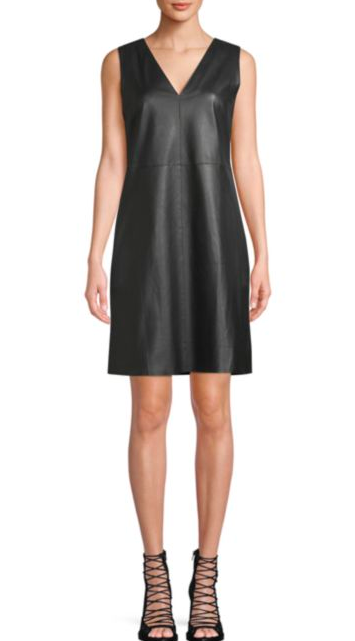 Max Mara: V-Neck Shift Dress  If leather sounds too scary to you, you can soften it up with a light wash denim jacket or a camel blazer/cardigan. Go for a feminine flat to counteract the 'edginess'.