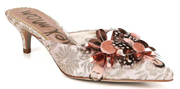 Sam Edelman: Dorcy Embellished Mule  This shoe is WAY too fun. Just pair with a simple skinny jean and a white button-down or grey crewneck sweater.