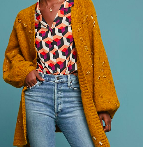 Janet: Ribbon Cardigan   What adds texture more than combining a soft wool and lacing velvet ribbon through it?! This is complimented so well, with the more practical denim jean and is lightened with a silk blouse.