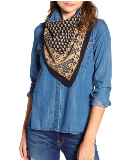 Free People: Songbird Bandana  The silk creates a beautifullllllll contrast with the harder denim. It softens the stiffness and ruggedness of an all denim look and adds a flair of of style and femininity.