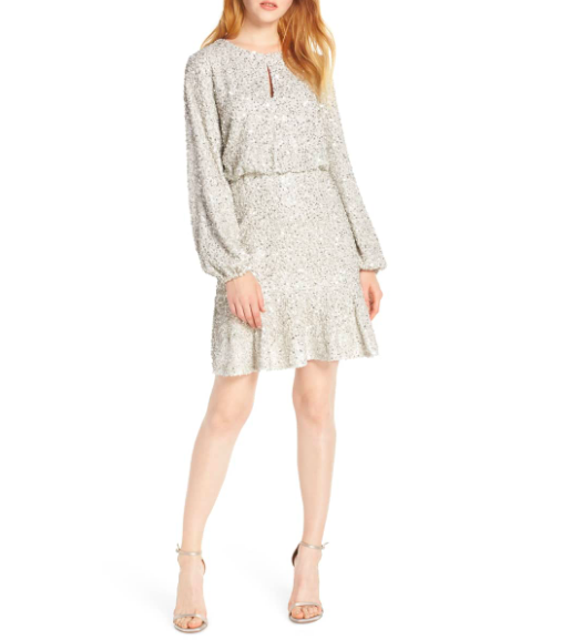 Evernew: Sequin Ruffle Hem  Bring on the sparkle and shine!! This is SUCH a fun dress to wear in the evening with heels and a red lip. Pull your hair back in a low bun to pull of an elegant Look. To dress it down, you could pop on a camel jacket or blazer to soften all of the shine.