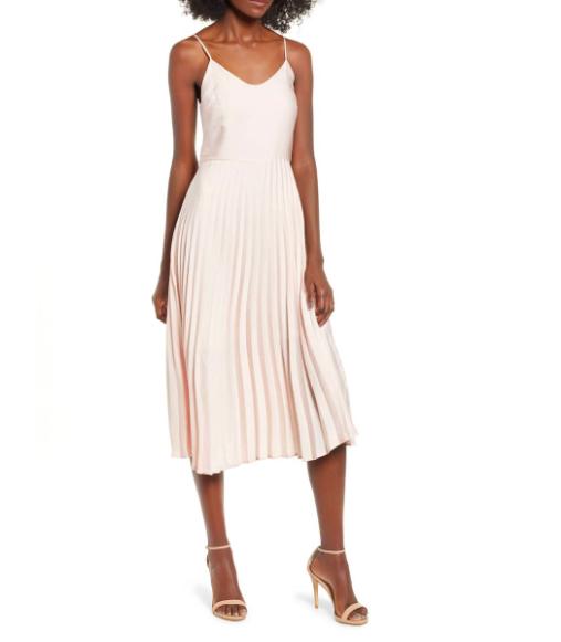 Love, Fire Pleated Midi Dress