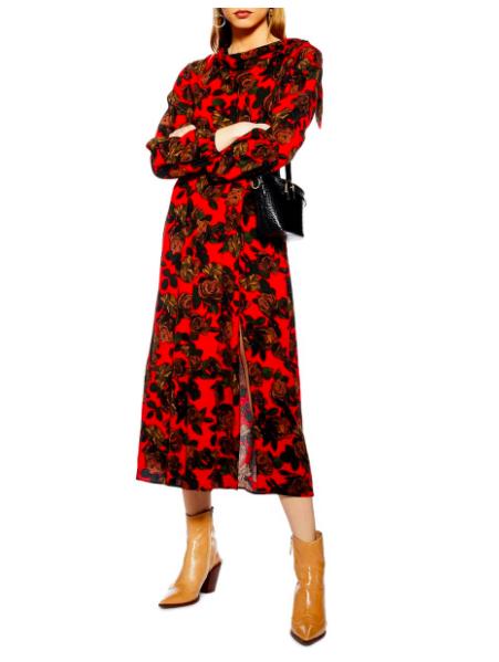 TopShop Tie Neck Midi Dress