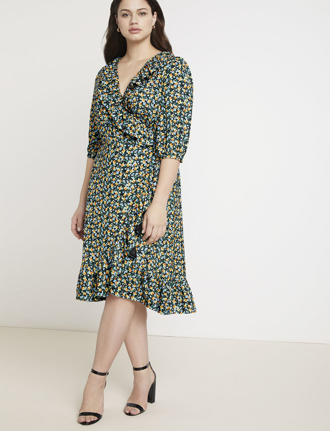 Eloquii/Jason Wu: Printed Ruffle Wrap Dress:  Stunn. Ing. What a perfect dress to pair with booties and a camel blazer in the winter, then in the summer, bring out your favorite sandal!