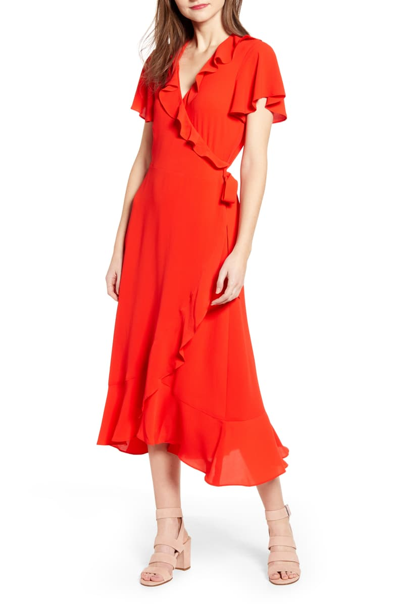 Chelsea 28 Ruffle Wrap Dress  Such a flattering cut! Perfect for mass with wedges or nude loafers, yet after mass for brunch, just slip on some sandals and a denim jacket!