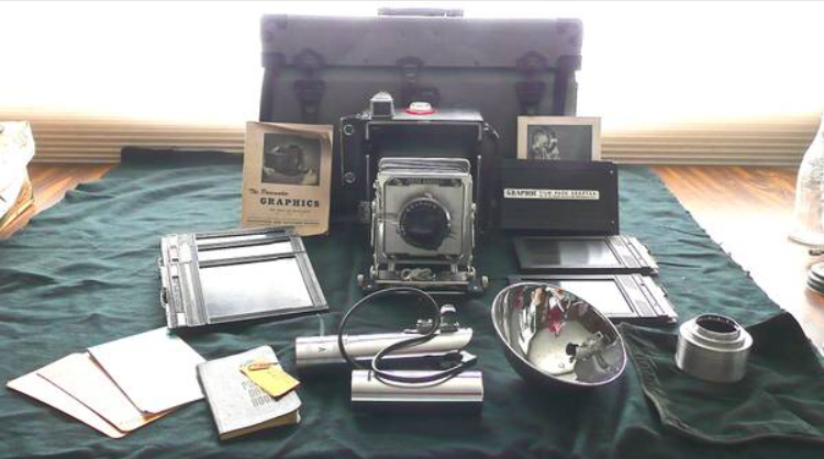 My first vintage 4x5 Graflex outfit with the original 3-Cell flash handle.