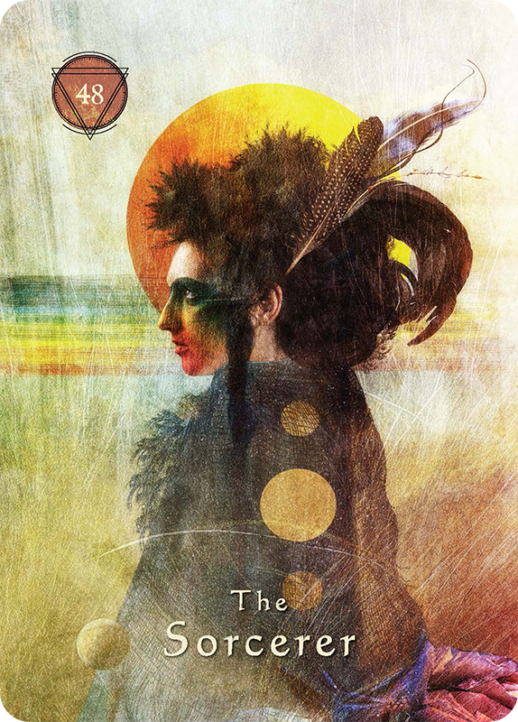 The Sorcerer - THE ESSENCE:This is the source of dark power. The Sorcerer represents the destructive aspect of the human psyche and the self-centered behavior that harms others. It symbolizes the unconscious beliefs and ideas that foster separation, conflict, and scarcity.THE INVITATION:When the Sorcerer enters your circle, you're being called to look at how your beliefs around scarcity and self-centered fear manifest in your world. Examine the destructive part of your psyche that misuses power or harbors feelings of resentment, vengeance, lust, greed, bigotry, or hatred. Perhaps you've harmed someone because of these dark tendencies. If so, all is not lost. You have only forgotten that all beings are interconnected and the universe is abundant. The Sorcerer arrives to challenge you to change your thinking. You're given a second chance. Correct your course and and practice not blaming others for the darkness that lives inside you. Make peace with it and choose another way.THE MEDICINE:Have you been feeling out of sorts because you've been faced with your own character flaws and the pain that you inflict on others when you are out of alignment? Radical self-acceptance is called for now. You must reconcile these darker aspects of your nature so you don't behave irresponsibly and cause more harm to yourself and the ones you love. It's time to come out of denial and accept responsibility for your words and deeds. When you meet the energy of the Sorcerer with humility, this destructive power transforms into grace, which you can use in service to the highest good. Perhaps it's time to make amends. Do it. It will set you free from the shadows and let you step into the Light.THE INVITATION:The rainbow tells you that the end of the storm is near. Persevere, and remember that it is darkest just before the dawn. Do not give up hope; things are about to take a positive turn. Listen for the morning rooster that announces the coming of the dawn even while the night is still darke