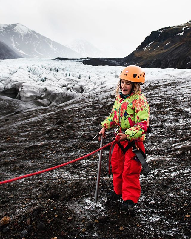 Hello Friday! I don't know what I love more about this: the ice axe and crampons or the toothless grin. We are still telling Iceland stories at home and I just want to send some love to the team @localguide for taking us out on our epic glacier walk. I respect that glacier walking is dangerous but some kids are still capable (with a guide and safety equipment). They have inspired two young mountaineers who already have been asking when we can go back. Iceland has our hearts. ❤️