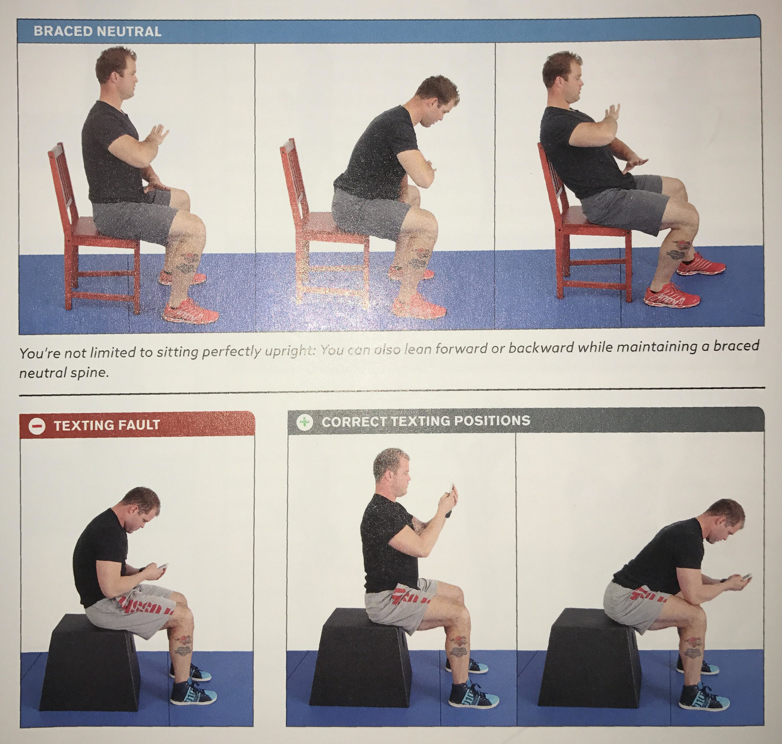 Image 5: Braced Neutral Sitting and Texting Positions
