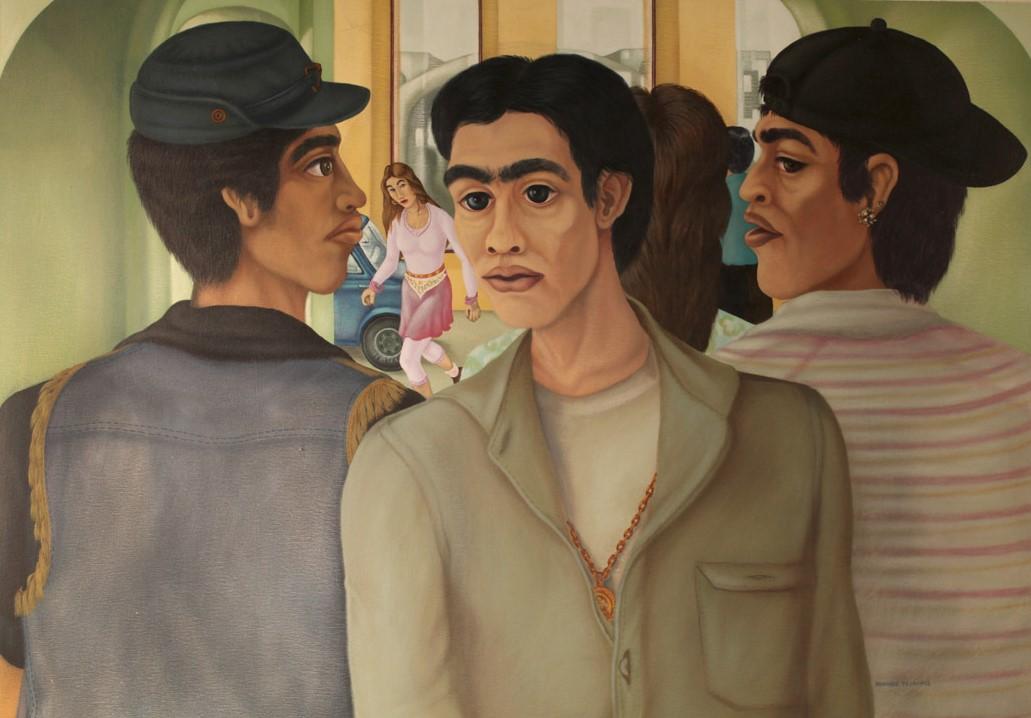 Armando Campos    Tres jóvenes,  1994  Acrílico