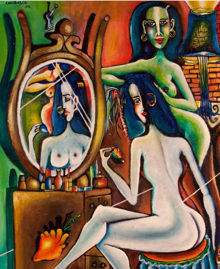 Chubasco    Mujeres tocador verde , 1994  Acrílico
