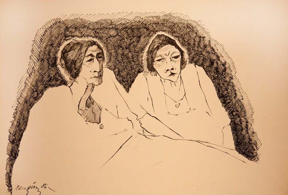 Bernardo Crespín    Dos ancianas , 1986  Dibujo