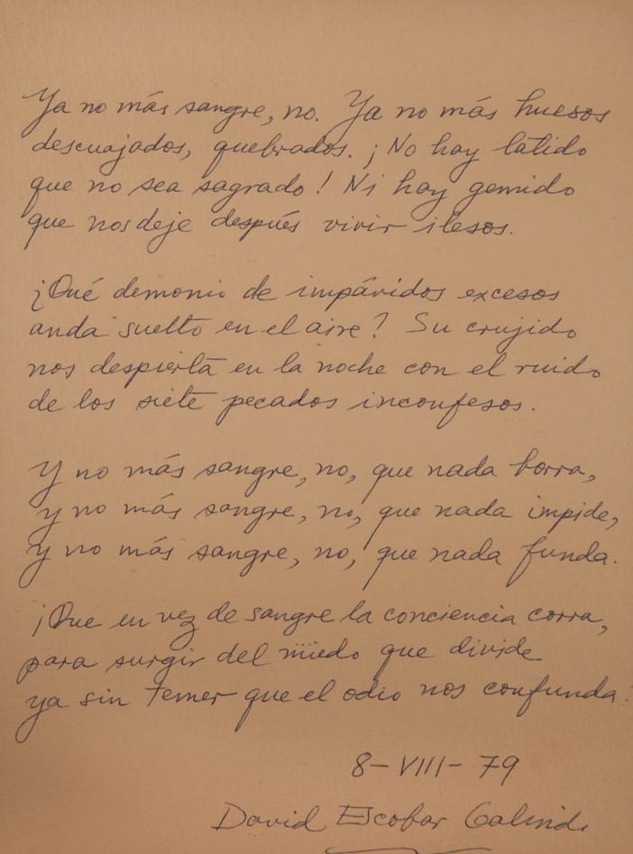 David Escobar Gallindo   1979  Poema