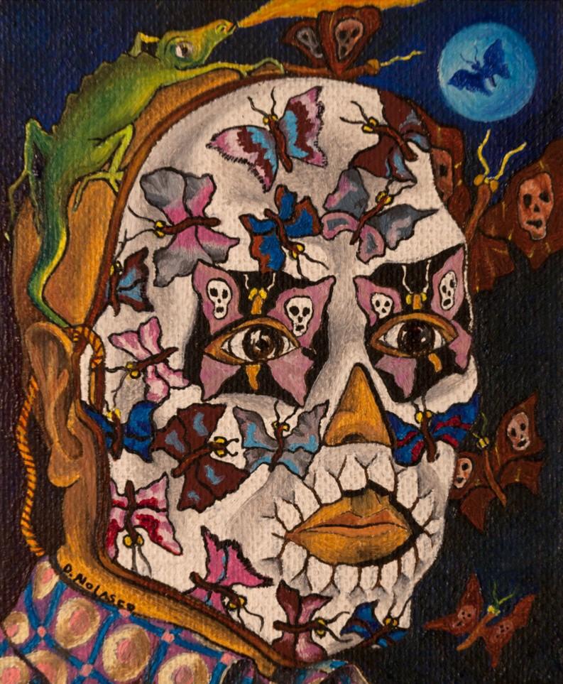 Dagoberto Nolasco    Máscara blanca con iguana   Técnica mixta