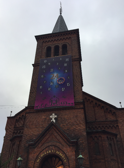 Amazing Advent Calendar on a church in  Copenhagen