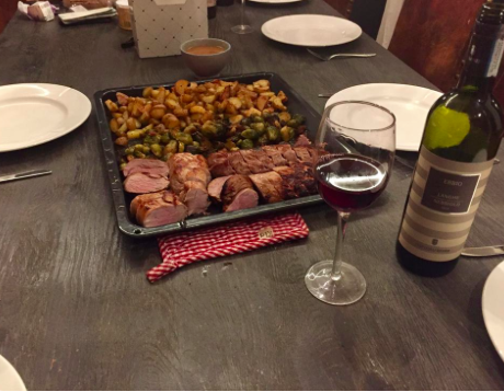Home cooked meal at our hytte in Norway:  pork tenderloin with roasted potatoes and brussel sprouts, accompanied by a nice Nebbiolo