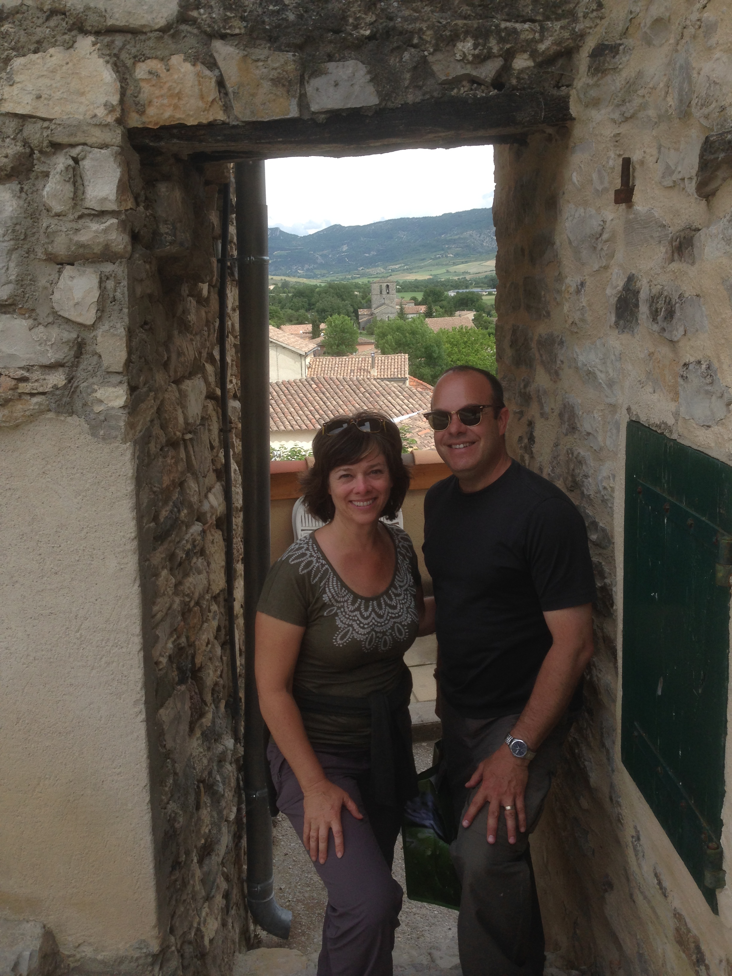 Betsy and Greg in St. Jalles, France near  Nyons  in  Provence