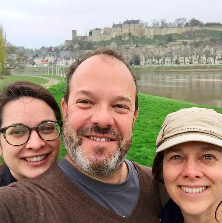 The E uro Travel Coach  Team with the  Chateau de Chinon  in the background