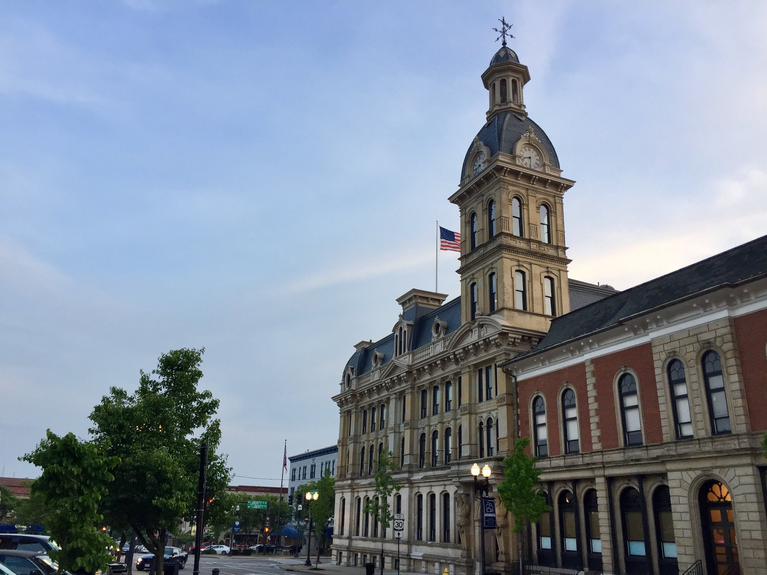 Downtown square, Wooster, Ohio, our hometown.