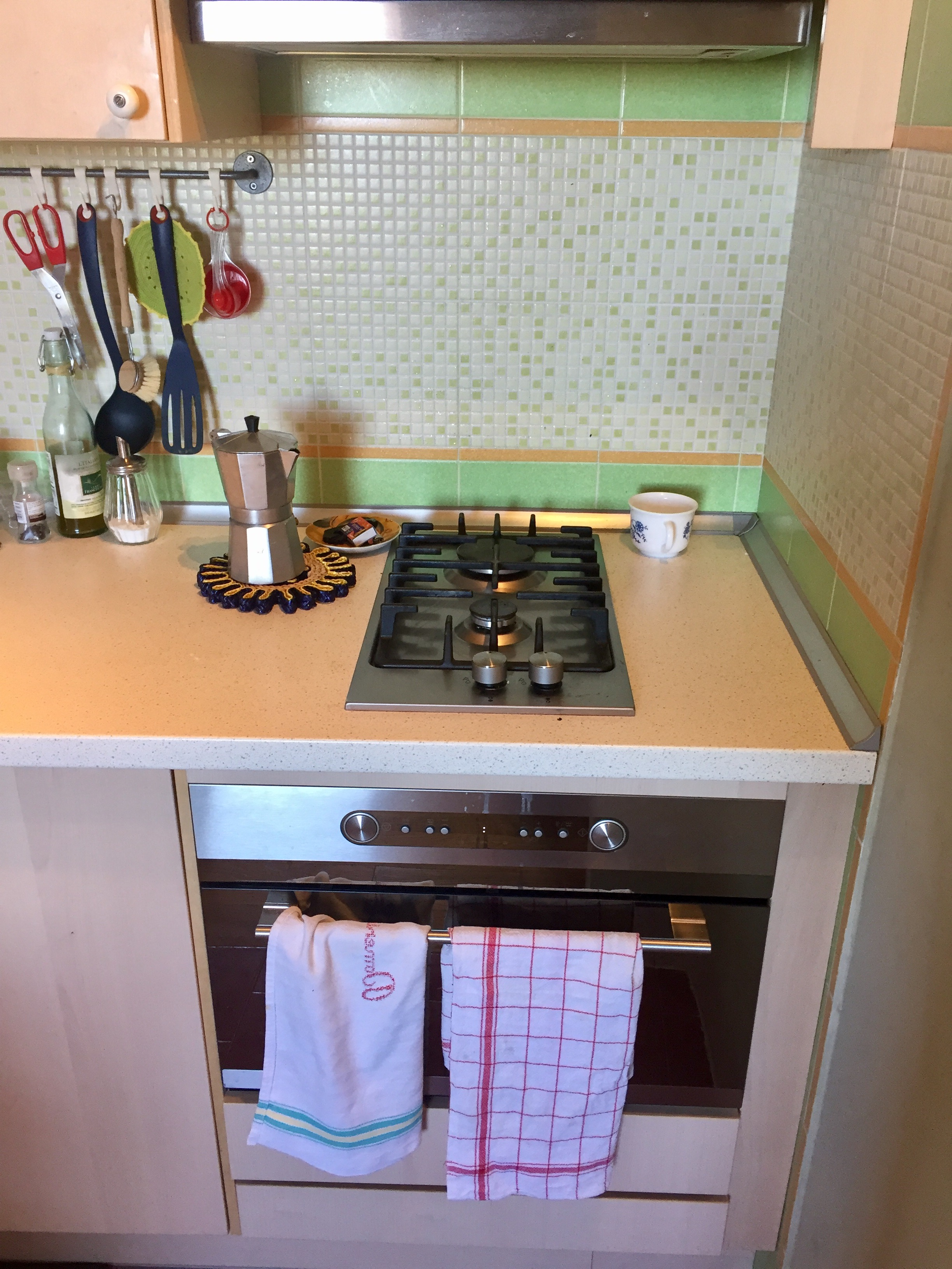 Our kitchen in Tuscany. Note the coffee pot!