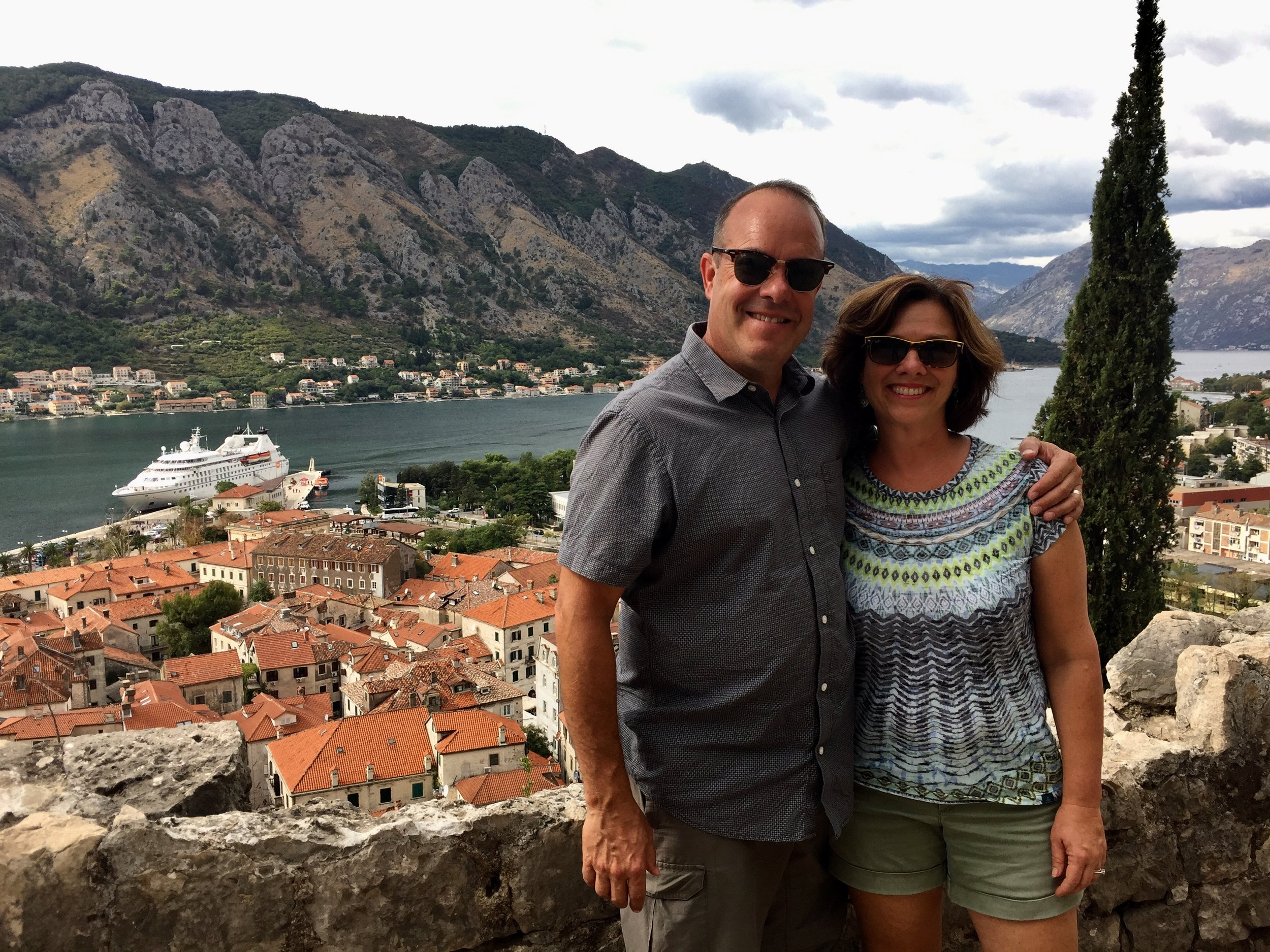 From the top of Kotor, Montenegro looking down with our ship in the background