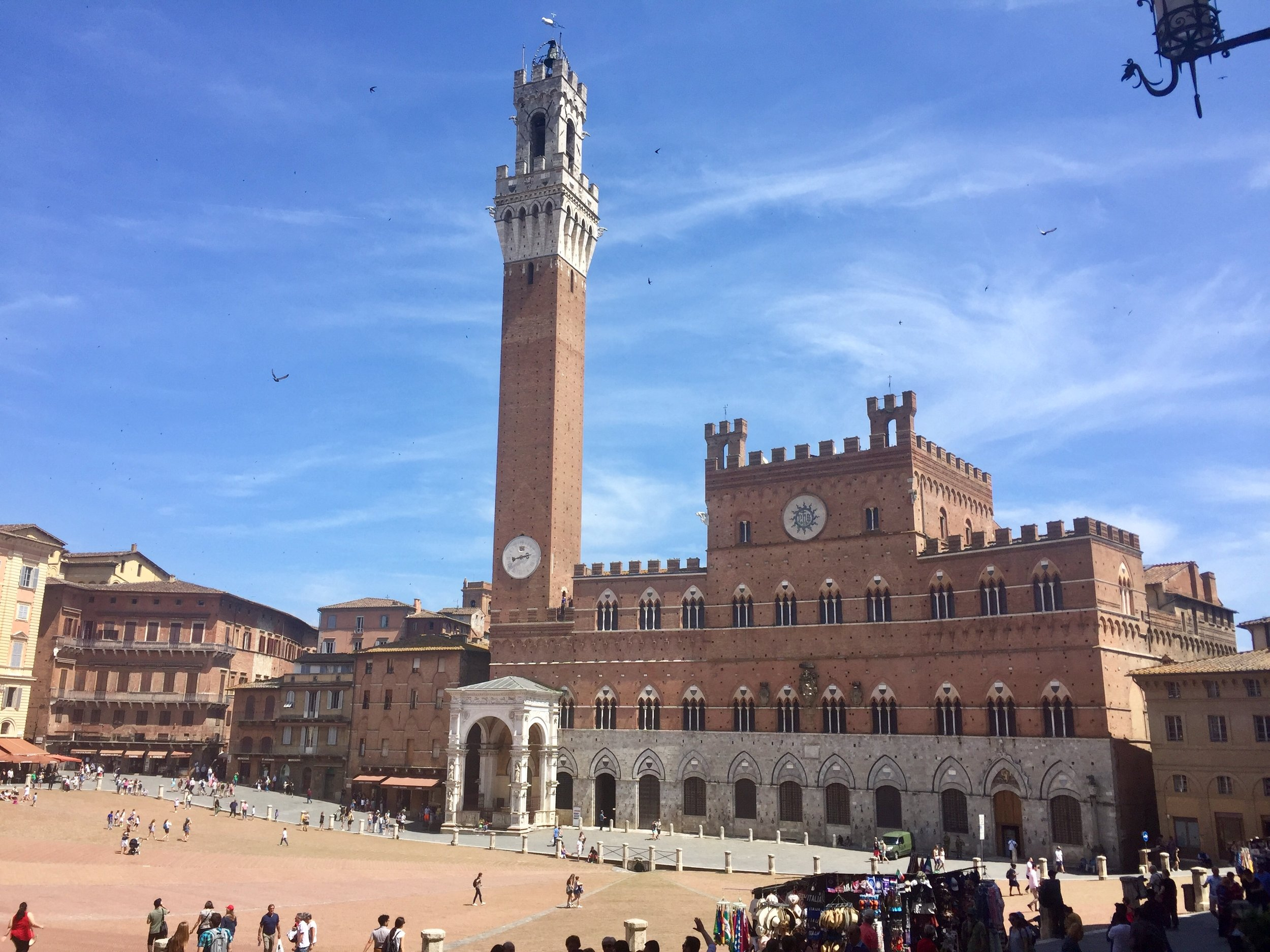 The Piazza del Campo in Siena, sight of the famous Palio horse race