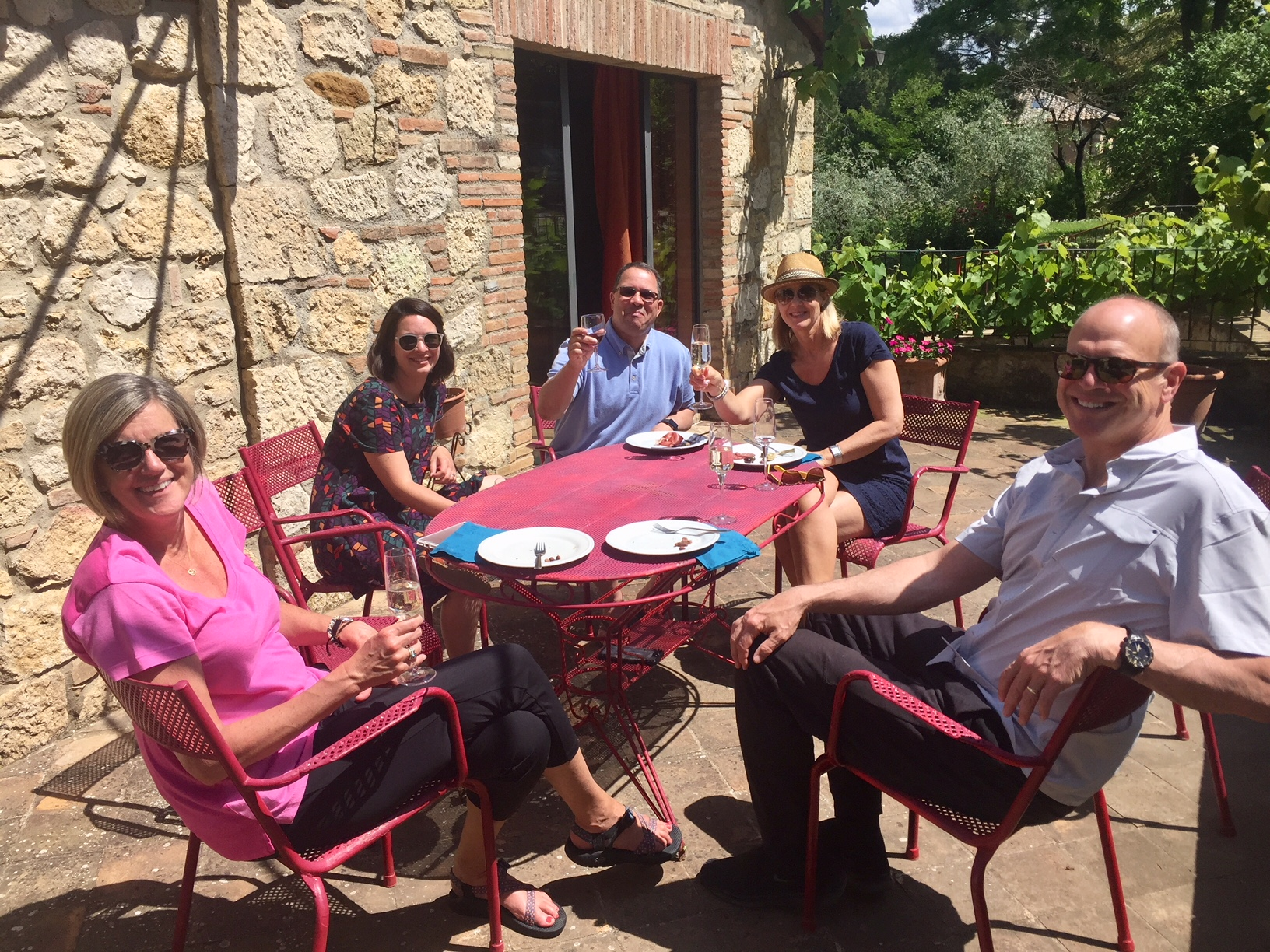 Relaxing at   Villa Ardene     and drinking wine during our small group tour of Tuscany